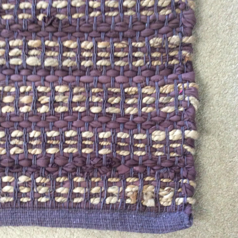Jute Handwoven Chindi Rug With Purple 27x 45