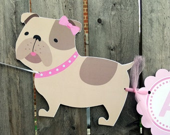 Puppy Party Banner - Puppy Birthday Banner - Bulldog Banner -  10716541P