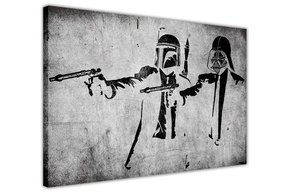 banksy artwork starwars pulp fiction gerahmte drucke leinwand. Black Bedroom Furniture Sets. Home Design Ideas