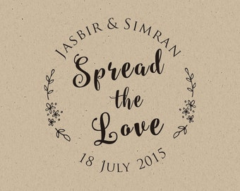 Spread the Love-Customized  WEDDING Favor Stamps- Rustic stamp-Personalized Custom Rubber Stamp-custom stamp