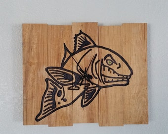 Angry Red Fish Clock