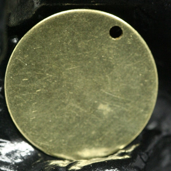 40 Pcs Raw brass 20 mm Circle tag 1 hole pendant charms ,findings 61R-48