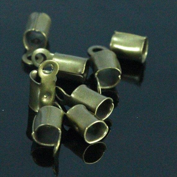 100 pcs 1,2 mm 17 gauge antiqu brass tone brass crimp, end cap, finding, leather, cord, S1-kA