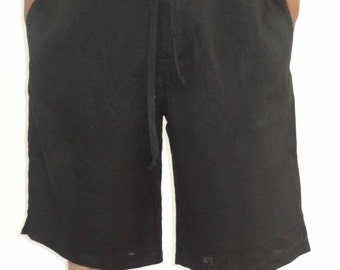 Mens Linen Beach Boho Knee Length Shorts, Plus size.