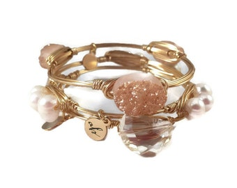 The Vow Stack | Peach Druzy, Freshwater Pearls, and Halfmoon Champagne Crystal