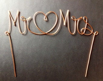 Copper Wire Mr & Mrs/Heart Wedding Cake Topper