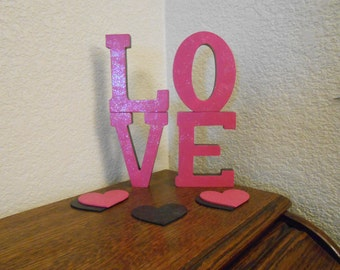 LOVE Hand painted stackable letters