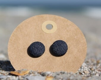 "1/2"" Denim Button Earrings"