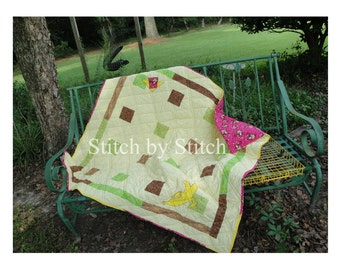 Monkey Throw Quilt / Monkey and Banana Throw Quilt / READY MADE / Homemade Quilt