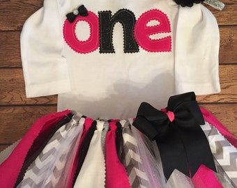 Pink, Black, Grey, and Silver Birthday Tutu Outfit