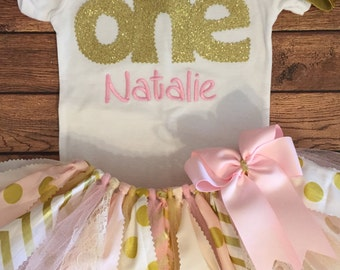"Light Pink, Ivory, and Gold 1st Birthday ""One"" Polka Dots and Chevron Scrap Fabric Tutu Outfit"