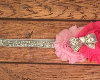 PInk and Silver Shabby Flower Headband