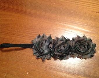Camo Shabby Flower Trio Headband
