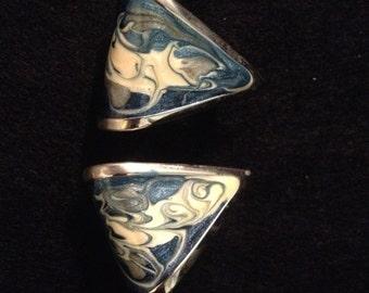 Vintage Mid-Century Marble Triangular Earrings