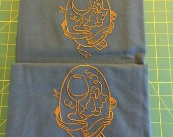 Machine Embroidered Flour Sack Dish Towel Set (2 Towels)