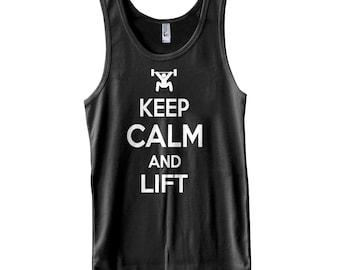 Keep Calm and Lift tank top men workout tank gym apparel