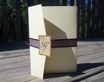 Tri fold wedding invitation with pocket - SAMPLE