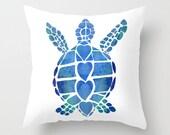 Sea Turtle Throw Pillow , cute, surfer style, blue ocean, shore,coastal,  rectangular throw pillow, cushion, cute, sofa, bed, dorm, honu