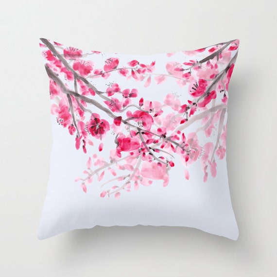 Cherry Blossom Throw Pillow Watercolor Flowers Pink