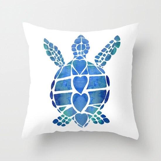 Sea Turtle Throw Pillow cute surfer style blue ocean