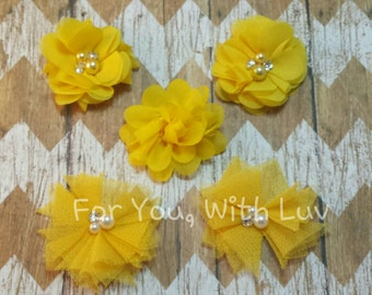 Tulle, satin and bling flower assortment in yellow for crafting, headband making, tutus etc.
