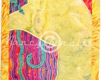 "Serpentine, Original Quilt Art, 7"" x 9"""