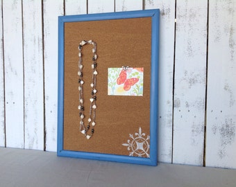 Framed cork board - bulletin board - blue frame - nautical