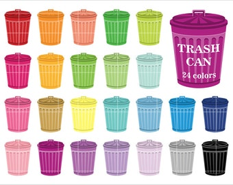 Trash Can Clipart, Rainbow Color, Clip Art, Printable Digital Paper, PNG, JPEG, Instant download