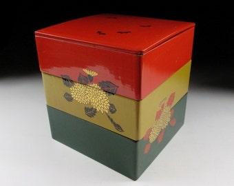 Lacquerware Wooden Jubako with Tomobako