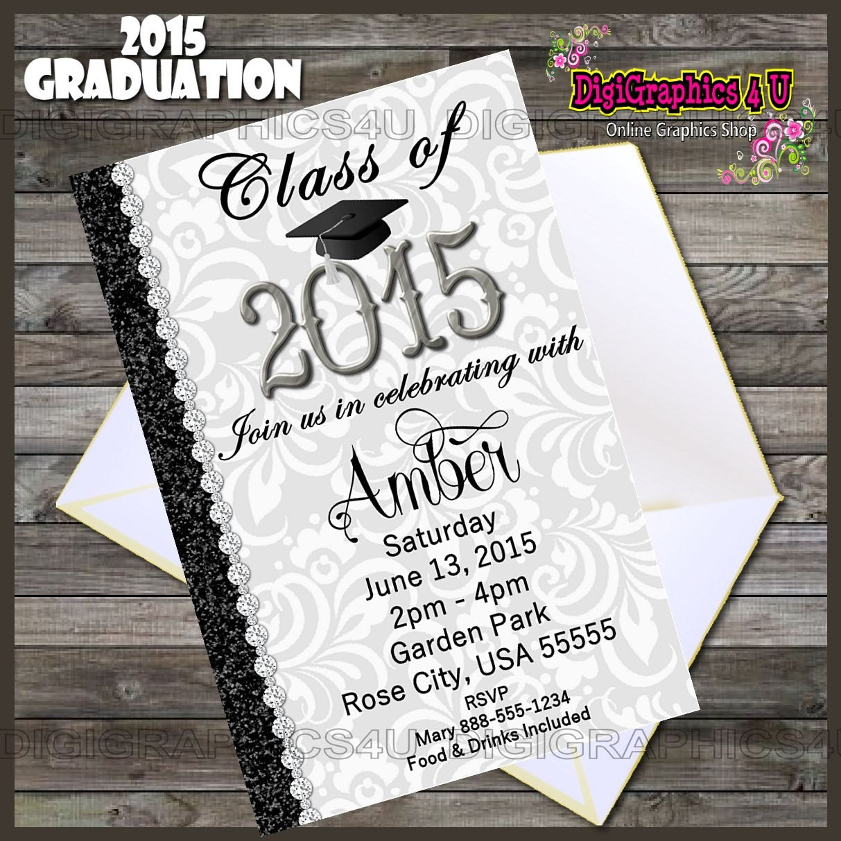 class of 2015 graduation party invitation by digigraphics4u