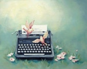 "Typewriter Painting Art Print - Teal Decor - ""Ghost Writers"""