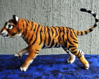 Needle Felted Wool Animal Royal Tiger by Carol Rossi