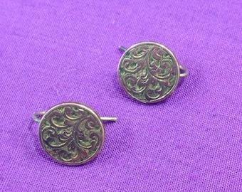 edwardian ear bobs, engraved gold front