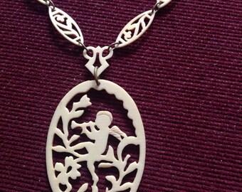 Edwardian celluloid cherub necklace