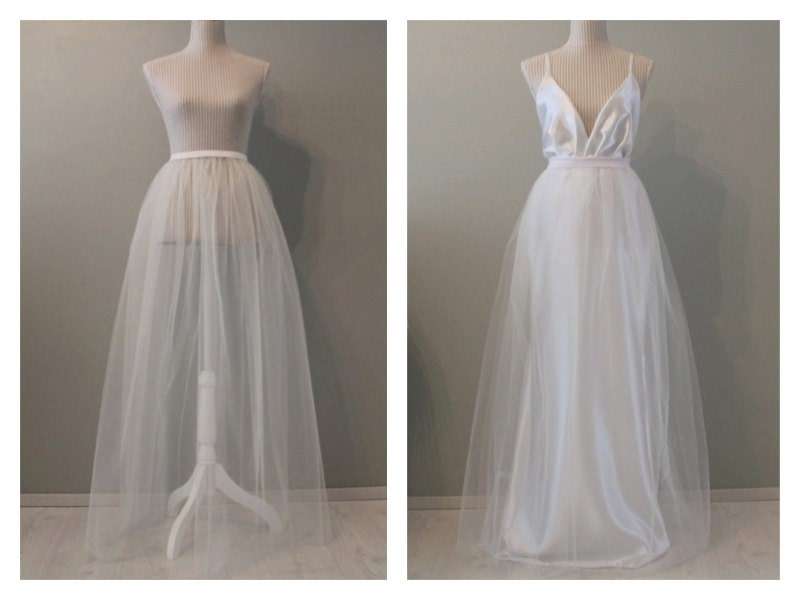 Tulle wedding skirt wedding overskirt overskirt wedding for Removable tulle skirt wedding dress