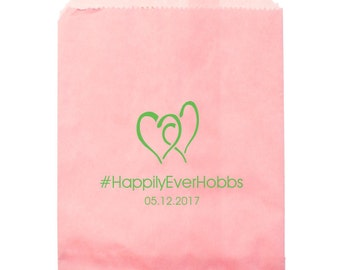 Personalized Wedding Cake Bags Candy Treats Cookies Candy Station Available in Black, Ivory, White, Hot Pink and Pink Ships in 1 week!