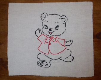 Vintage Embroidered Teddy Bear - Vintage Teddy Bear Linen - Child's Teddy Bear Embroidery - Teddy Bear Hand Embroidered Piece
