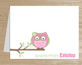 Personalized Kids' Note Cards - Set of 10 Pink Owl Notecards for Girls - Folded Note Cards with Envelopes - Custom Owl Notecards
