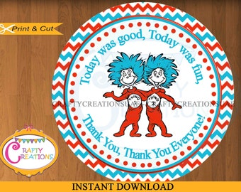 Dr. Seuss Thing 1 Thing 2 Favor Tags - Twins - Birthday -Party - Baby Shower - Stickers - Printable - INSTANT DOWNLOAD - CRAFTYCREATIONSUAE