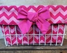 Pink Chevron Bike Basket Liner