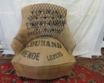 overstuffed chair in vintage grain sacks