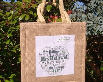 Teacher Gift Personalised Jute Bag, Teacher Gift, Personalised Gift, Jute bag, Teacher bag, Teacher appreciation, Custom Bag, School bag