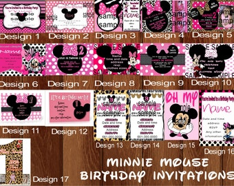 minnie mouse invitations, birthday invitations, princess invitations, frozen invitations, hello kitty invitations, owl, candyland, cupcake