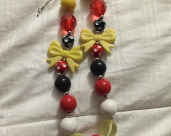 Childrens chunky bow necklace