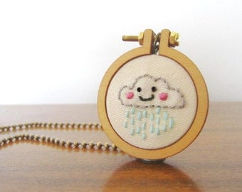 Happy Raincloud embroidered mini hoop necklace *CUTE*