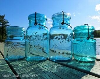 Mason Jars in Blue Print - Landscape Fine Art Photography