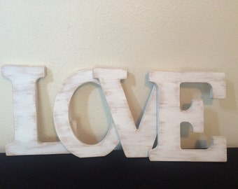 "12"" LOVE wooden letter Shabby chic rustic letter Personalized wooden letter Distressed wooden letter"