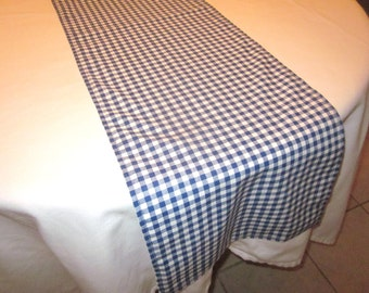 Navy and White Gingham Table Runner, Western party,Wedding, Bridal Shower, Baby Shower, Cowboy Party, Cowgirl Party