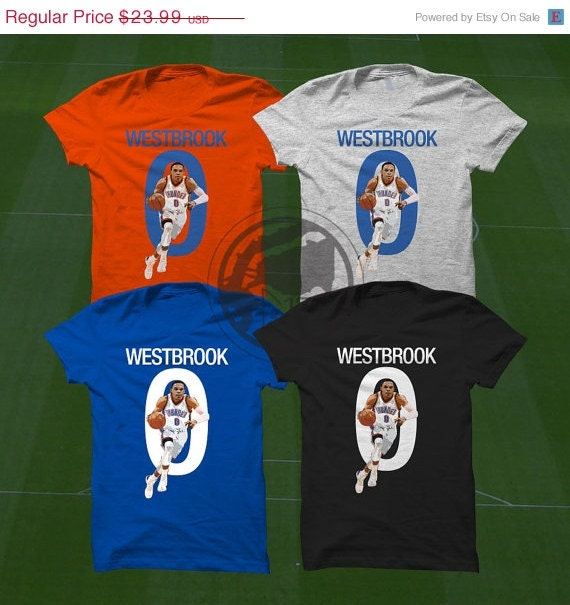 On sale russell westbrook oklahoma city thunder by graphics17 for Custom t shirts okc