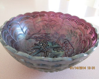 Imperial Carnival  Glass Grape Pattern Amethyst Bowl